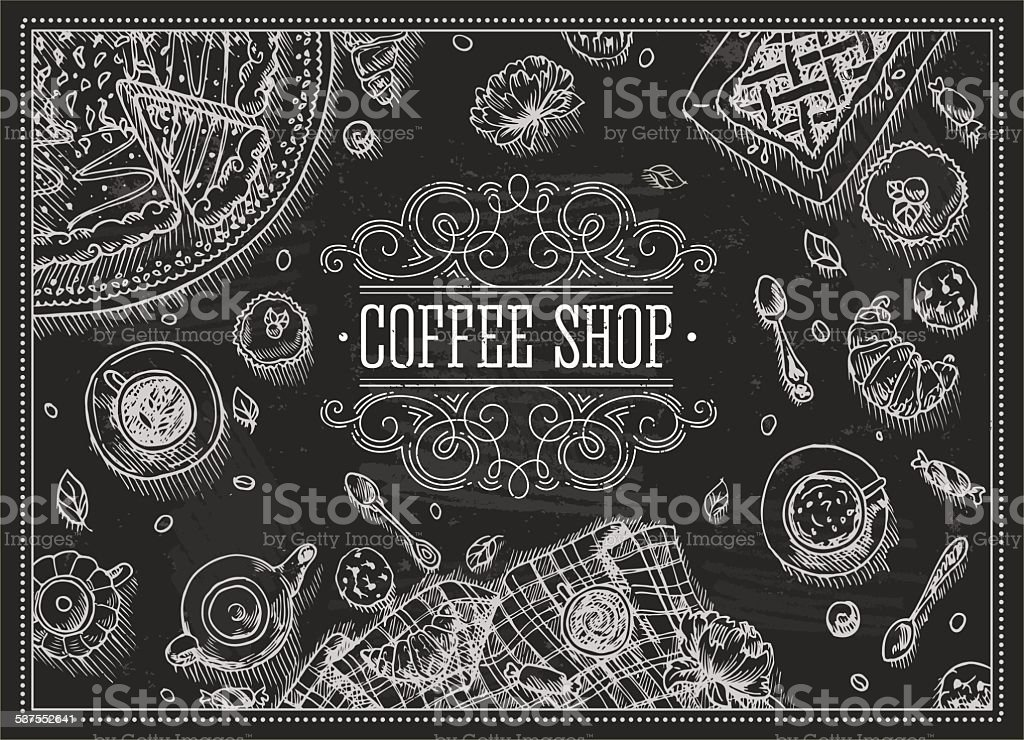 Coffee Shop Chalkboard Top View Frame Vector Illustration Stock ...