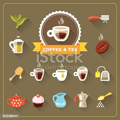 Modern Coffee Shop flat icons collection - Coffee and Tea. EPS 10 file with multiply transparencies in shadows.