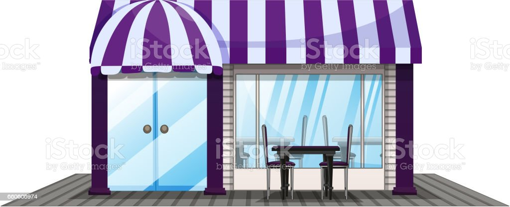 Coffee shop design with purple roof royalty-free coffee shop design with purple roof stock vector art & more images of architecture