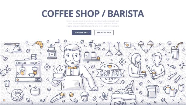 coffee shop doodle concept - barista stock illustrations, clip art, cartoons, & icons