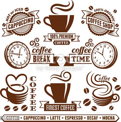 Coffee and Cafe Elegant Vector Icons Collection