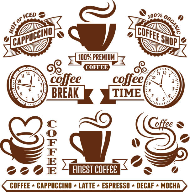 Coffee shop Elegant royalty free vector royalty-free vector arts Collection Coffee and Cafe Elegant Vector Icons Collection irish coffee stock illustrations