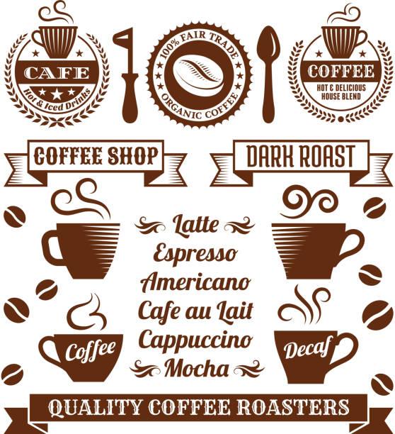 ilustrações de stock, clip art, desenhos animados e ícones de café elegante royalty free vector arte vectorial de stock royalty-free da colecção - café solúvel