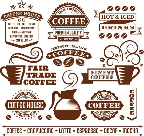 ilustrações de stock, clip art, desenhos animados e ícones de café elegante de arte vetorial royalty-free, etiquetas, banners & coleção - café solúvel