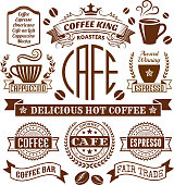 Coffee and Cafe Elegant Vector Icons, Banners, and Labels Collection