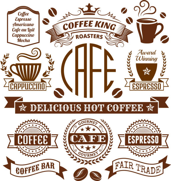 Coffee shop Elegant royalty-free vector arts , Banners & Labels Collection Coffee and Cafe Elegant Vector Icons, Banners, and Labels Collection irish coffee stock illustrations