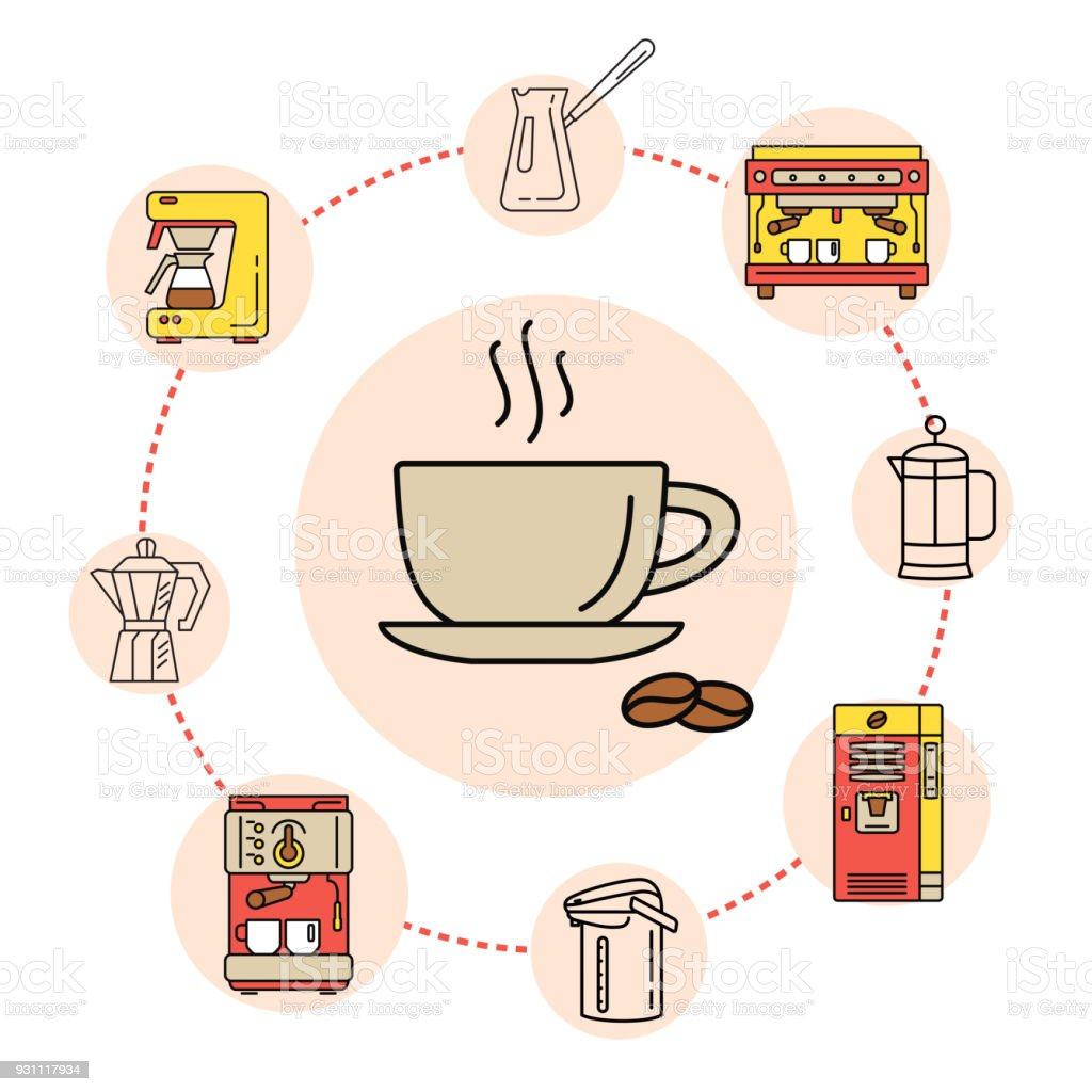 Concepto de bebida de café línea plana colección. - ilustración de arte vectorial