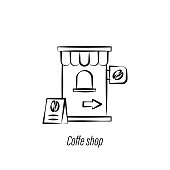 coffee shop hand draw icon. Element of coffee illustration icon. Signs and symbols can be used for web, logo, mobile app, UI, UX on white background