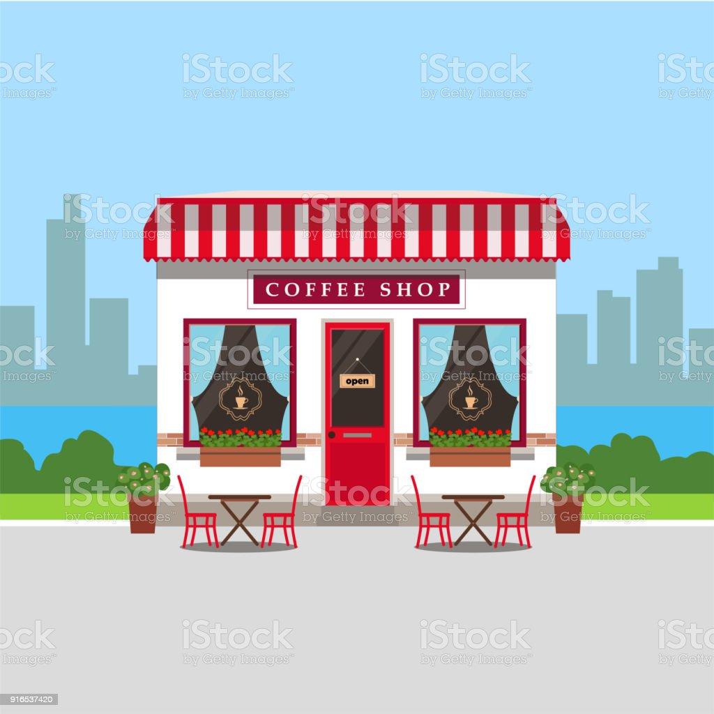 Ilustración de Casa De Cafetería Con Mesas Exteriores Y Paisaje De ...