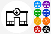 Coffee Shop Icon on Flat Color Circle Buttons. This 100% royalty free vector illustration features the main icon pictured in black inside a white circle. The alternative color options in blue, green, yellow, red, purple, indigo, orange and black are on the right of the icon and are arranged in two vertical columns.