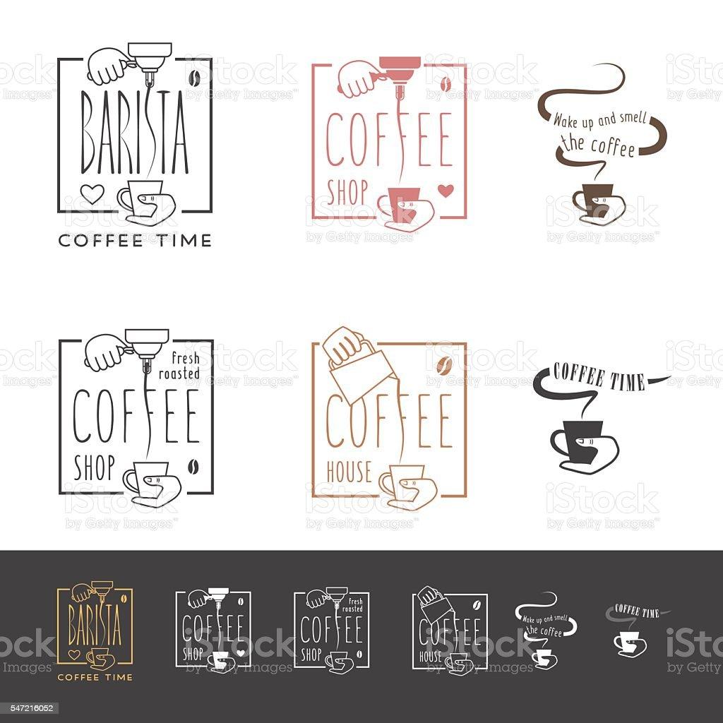 Coffee shop icons set vector art illustration