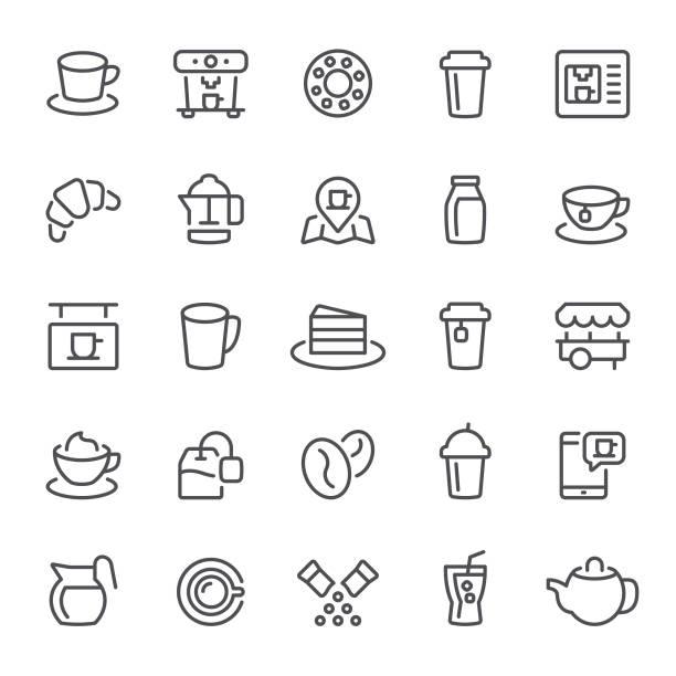 ilustraciones, imágenes clip art, dibujos animados e iconos de stock de coffee shop iconos - barista