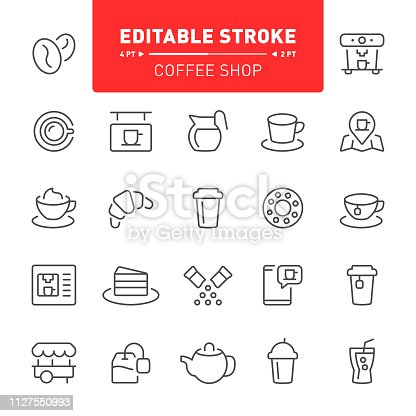 Coffee, editable stroke, outline, icon, icon set, tea, teabag, coffee maker, coffee bean