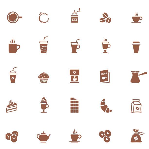 ilustrações de stock, clip art, desenhos animados e ícones de coffee shop icons - coffe shop