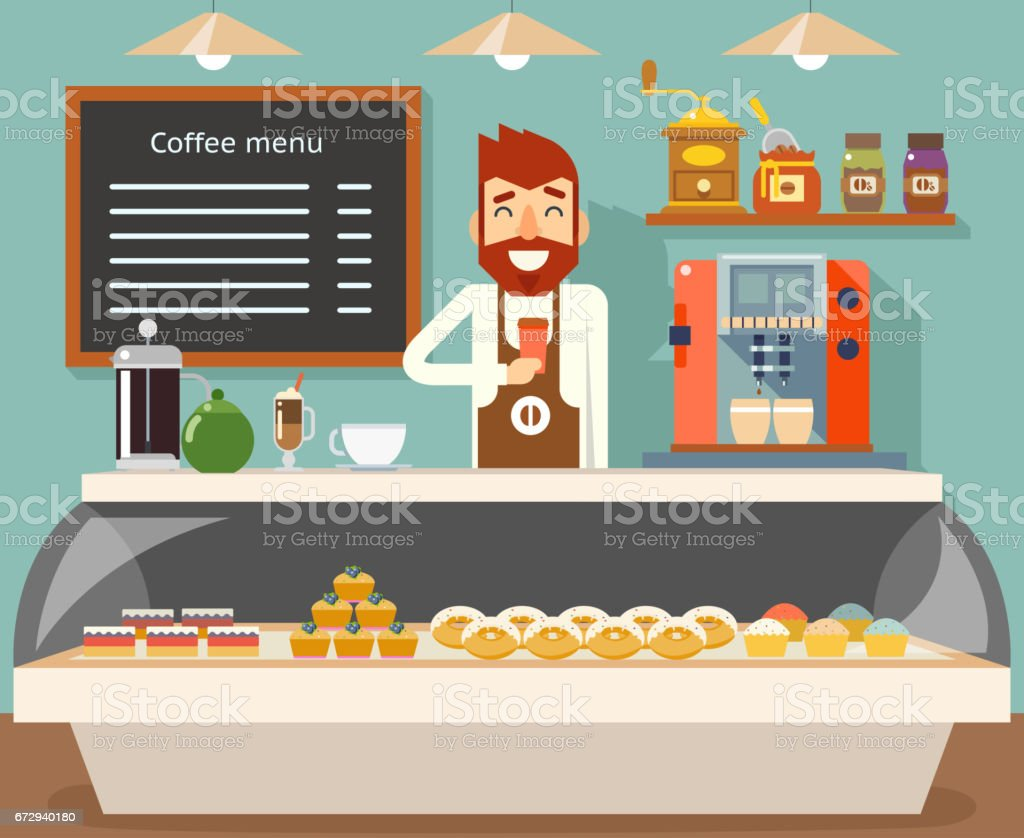 Coffee shop interior seller bakery taste sweets flat design vector illustration vector art illustration