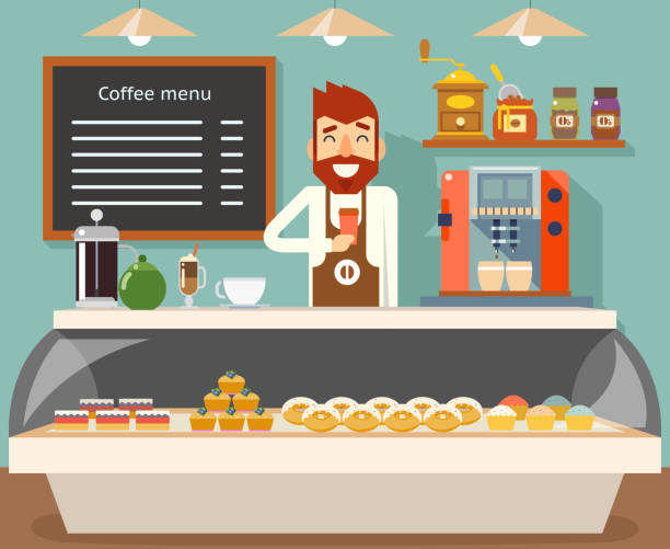coffee shop interior seller bakery taste sweets flat design vector illustration - barista stock illustrations, clip art, cartoons, & icons