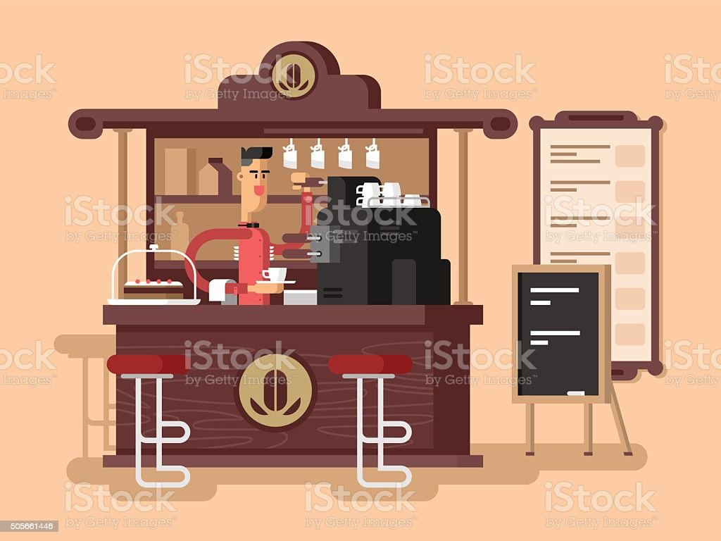 Coffee shop interior vector art illustration