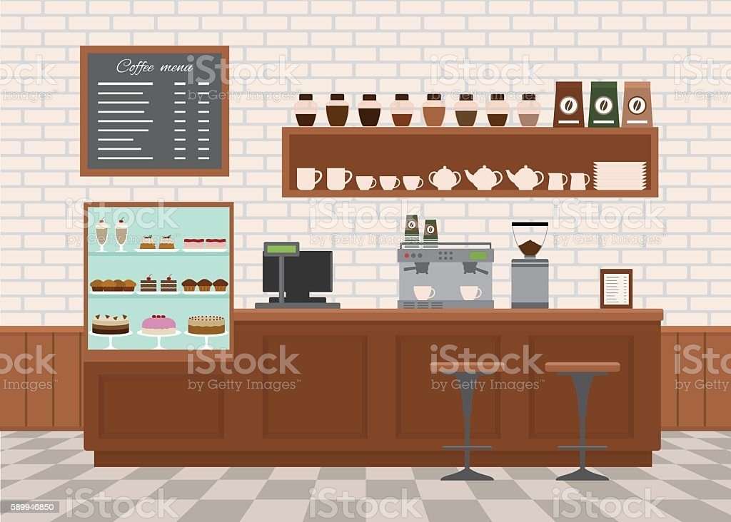 Coffee shop interior . vector art illustration