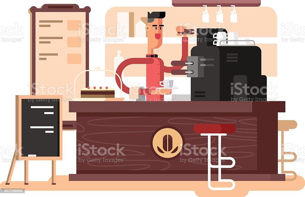 Coffee shop interior vector art illustration