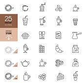 Coffee shop line icon set. Editable stroke.