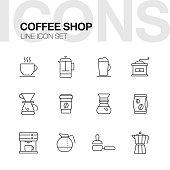 Coffee Shop Line Icons Set