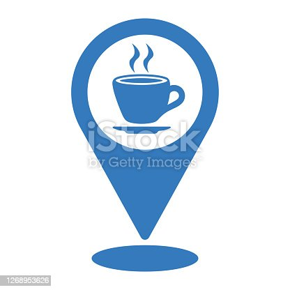 istock Coffee shop location icon. blue vector design is isolated on a white background for multipurpose use 1268953626