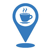 Coffee shop location icon is isolated on white background. Simple vector illustration for graphic and web design or commercial purposes.