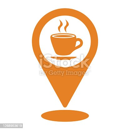 istock Coffee shop location icon. orange vector design is isolated on a white background for multipurpose use 1268953619