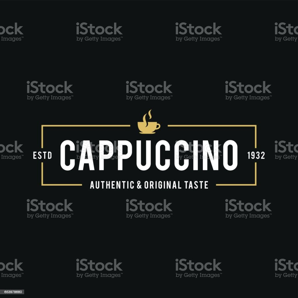 Coffee Shop Logo, Cup, beans in Retro Styled. Vector illustration