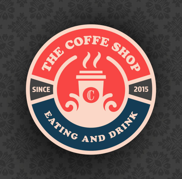 coffee shop logo template vector design with cup silhouette, goo - coffee stock illustrations, clip art, cartoons, & icons