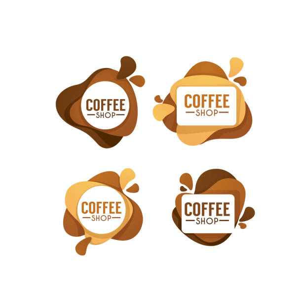 coffee shop logo. vector collection of hot and sweet drinks symbols and emblems - cappuccino stock illustrations