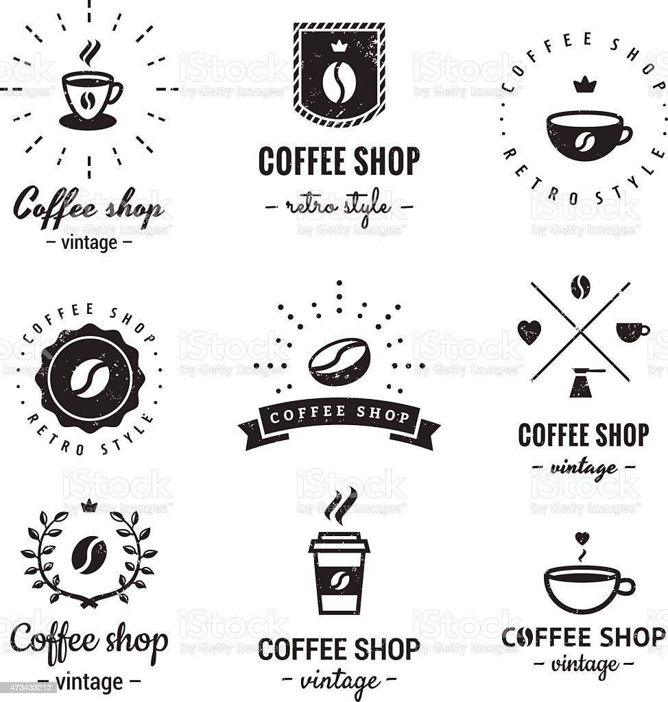 coffee shop logo vintage vector set hipster and retro