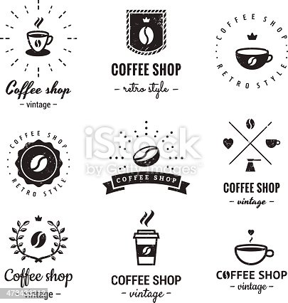 Coffee Shop Logo Vintage Vector Set Hipster And Retro Style Gm473433212 64423655