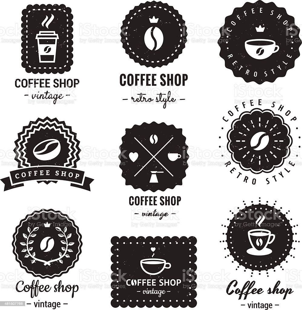 Coffee shop logo-badges vintage vector set. Hipster and retro style. vector art illustration