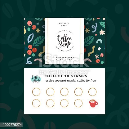 istock Coffee shop loyalty card, discount coupon for collection stamps, buy 9, get one drink for free. Pre-made vector layout, modern design with illustrations and logo, good for cafeteria or cafe 1200775274