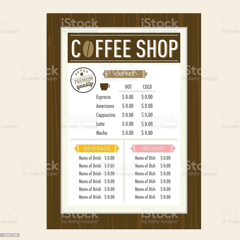 Coffee Shop Menu Design Layout Template Stock Vector Art More - Menu layout templates free