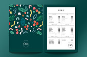 istock Coffee shop menu design template, cafe menu card template with cover. Pre-made printable layout. Beverage vector a4 flyer, modern minimalist design. Hand drawn illustration 1299134329