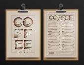 Coffee Shop Menu Template. Coffee Menu cart Mock Up. Vector Illustration.