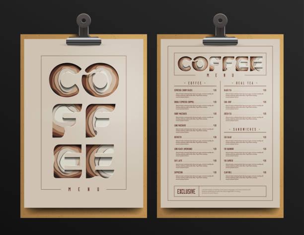 coffee shop menu template. coffee cart mock up. vector illustration. - menus templates stock illustrations