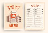 Coffee shop menu template. Vector EPS 10 illustration.