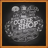 Coffee shop, cafe & bakery poster on chalkboard
