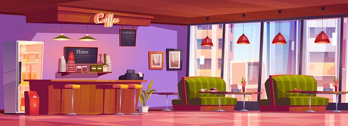 Coffee shop or cafe interior, empty cafeteria