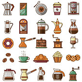 Coffee shop icon set with pastry and bakery icons. Line design elements for coffee house menu. Bio beverages, drinks to go and desserts. Espresso maker, latte brewing machine, and cappuccino cup.