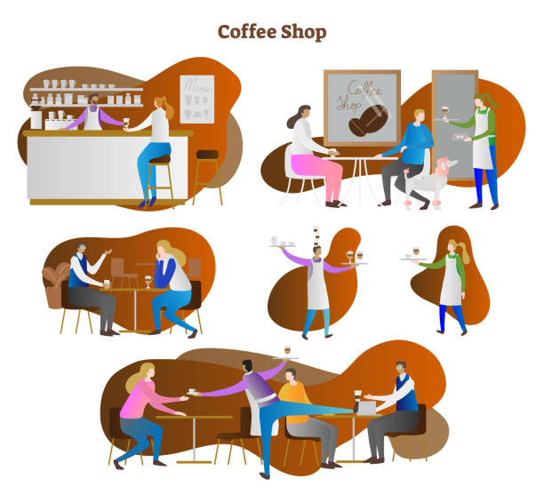 ilustraciones, imágenes clip art, dibujos animados e iconos de stock de escenas de café vector ilustración colección conjunto. camarero y camarera que sirve latte, espresso y cappuccino a cliente y cliente. bar y haba en fondo. - barista