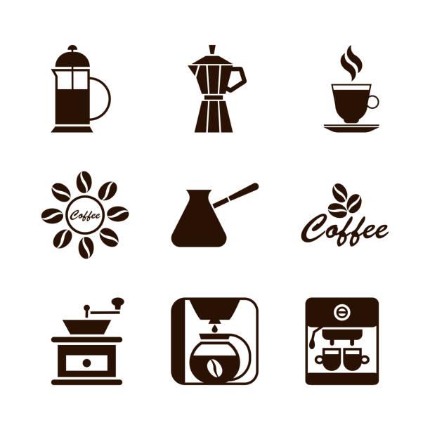 ilustrações de stock, clip art, desenhos animados e ícones de coffee shop set of brown icons - café solúvel