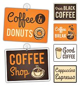 Retro styled coffee shop signs. EPS 10 file. Transparency effects used on highlight elements.