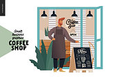 Coffee shop -small business illustrations -cafe owner -modern flat vector concept illustration of a coffee shop owner wearing apron in front of the shop facade, pavement sign - blackboard with menu