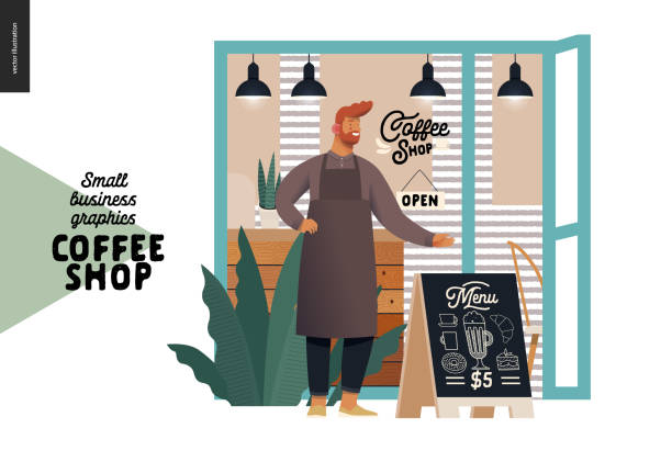 coffee shop - small business graphics - cafe owner - small business stock illustrations