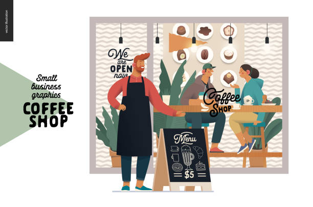 coffee shop - small business graphics - cafe owner - small business owner stock illustrations