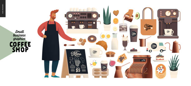 Coffee shop - small business graphics - constructor set Coffee shop -small business illustrations -constructor set - modern flat vector concept illustration of various coffee cups and mugs, interior decoration, logo, pastry, coffee maker, cafe owner pastry dough stock illustrations